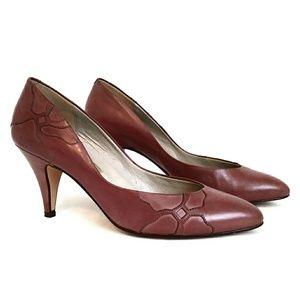 Vintage 80s Bandolino Mauve Leather Heels